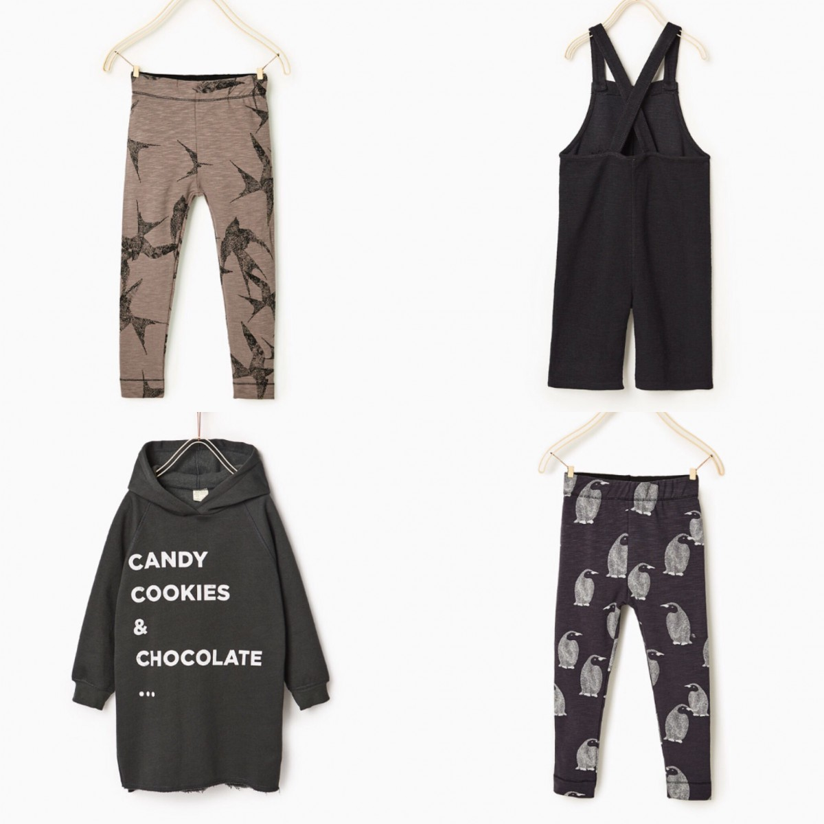 fc950c42a1d Clockwise from top left: Printed Leggings £6.99, Embroidered Dungarees with  Pockets £14.99, Printed Leggings £6.99, Long Sweatshirt Dress £14.99