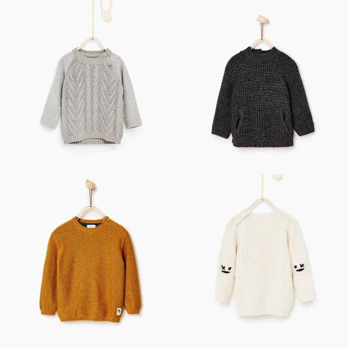 2cd7727a0df Clockwise from top left: Cable Knit Sweater £16.99, Textured Sweater  £16.99, Little Faces Elbow Patch Sweater £16.99, Basic Textured Sweater  £12.99