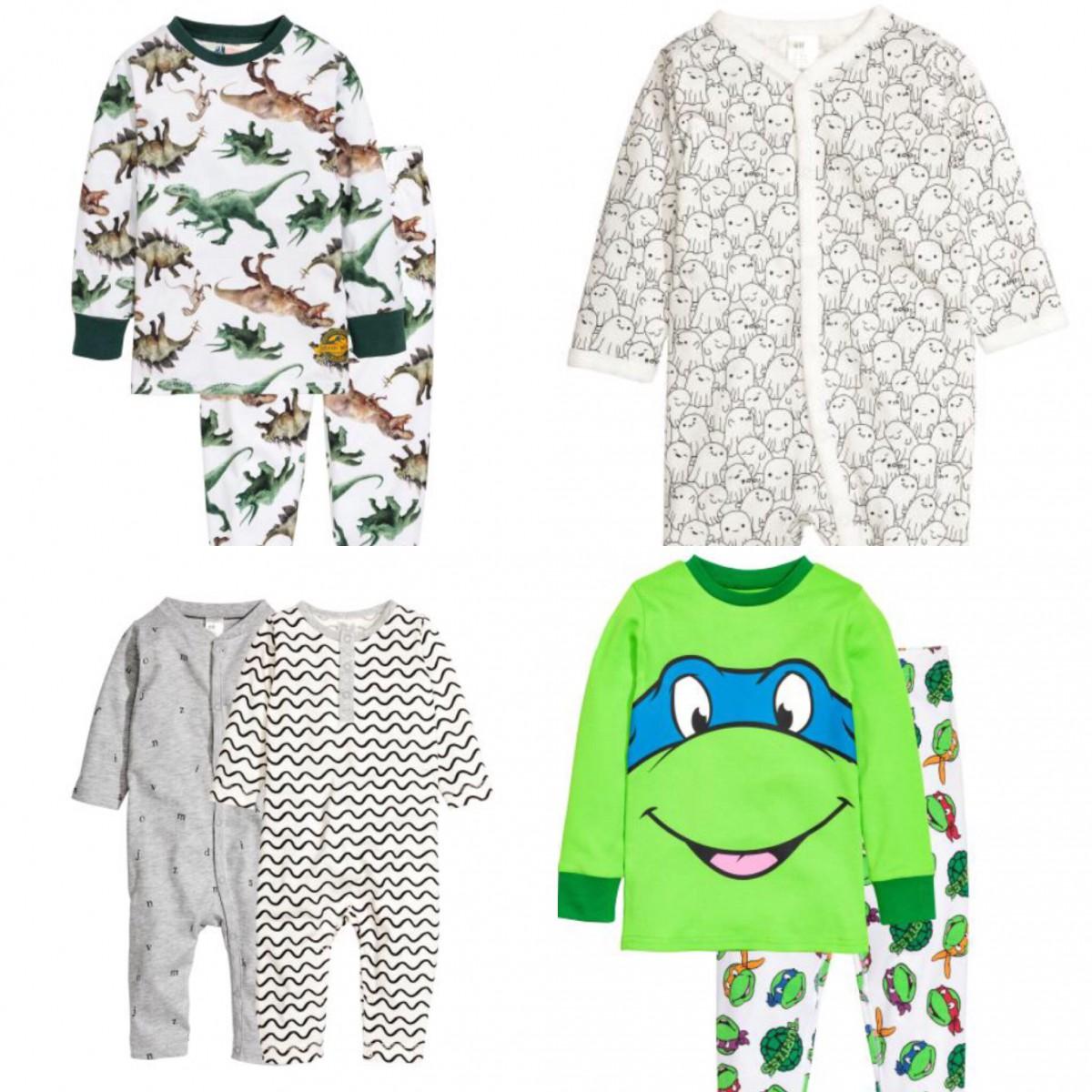 1962426d191 clockwise from top left: Jersey Pyjamas in White £9.99, Printed Pyjamas  £5.99, Jersey Pyjamas in Green £9.99, 2-pack All-in-one Pyjamas in Grey  £9.99