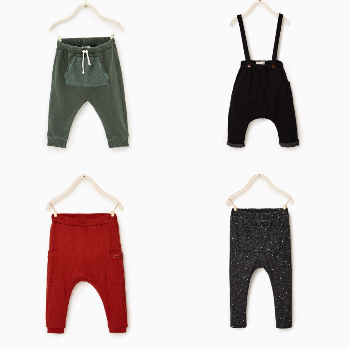 283521a9791 Clockwise from top left: Trousers with a Knit Pocket £8.99, Lined Trousers  with Straps £19.99, Leggings with Print £6.99, Crepe Trousers £8.99