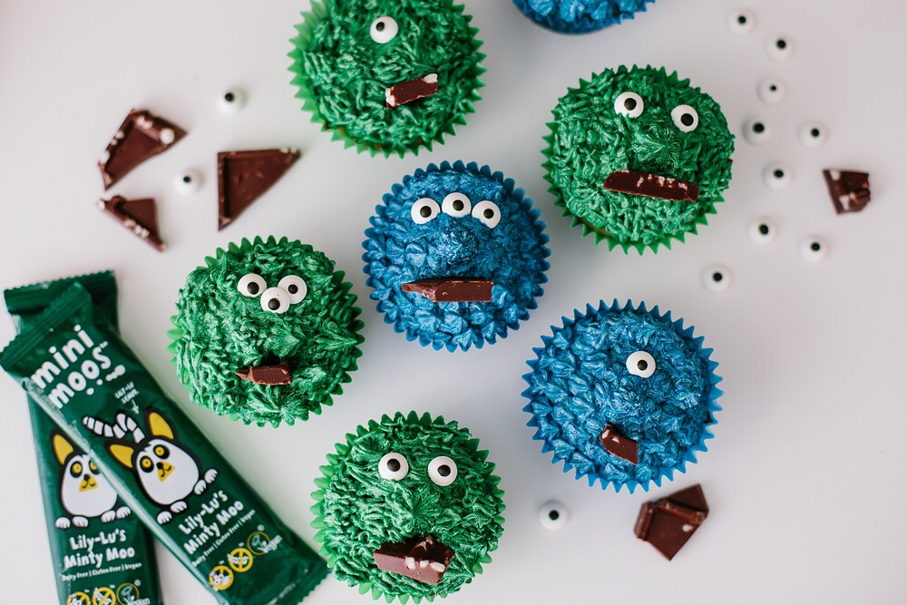 Monster Vegan Cupcakes using Moo Free Chocolate