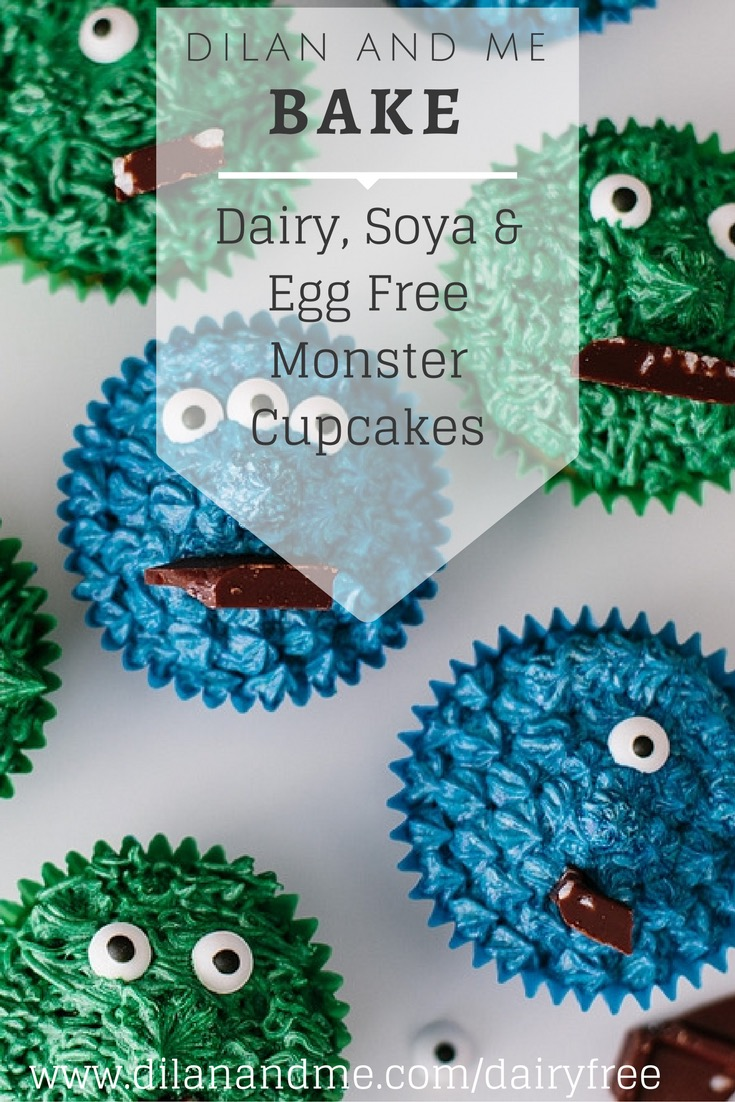 Monster fans will love these monster cupcakes, and no one will ever know they are vegan cupcakes! Dairy free, soya free and egg free, and simple enough to bake with kids. Perfect for monster parties and a great thing to save for some Halloween baking. Super simple vegan monster cupcakes. See more at dilanandme.com