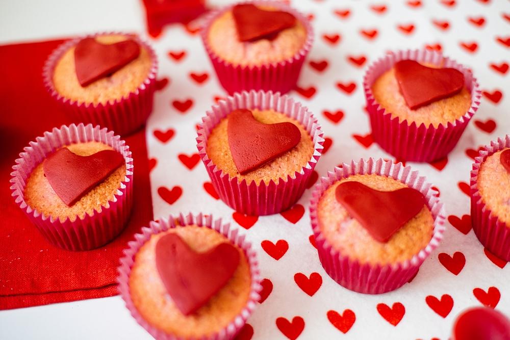 Valentine's Day baking with kids - Valentine's heart vegan cupcakes