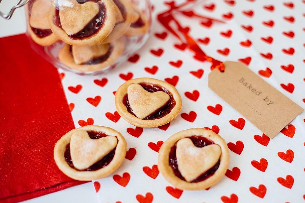 Valentine's Day baking with kids - Valentine's Heart Jam Tarts