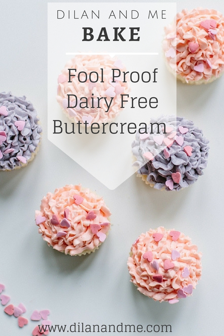 If you need dairy free buttercream that's completely fool proof then check out this tried and tested recipe. Completely dairy free and soya free, this is the most delicious buttercream for cakes and cupcakes - and it's easy! Allergy friendly baking should be simple. Find more dairy free baking ideas at dilanandme.com/dairyfree