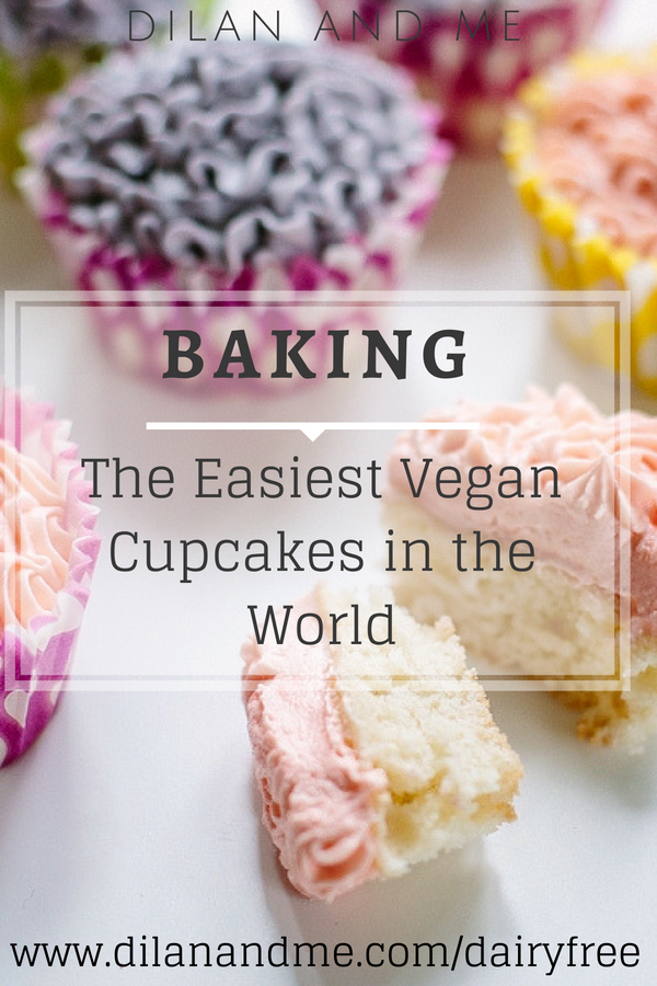 The easiest vegan cake recipe you'll ever find. Make vegan cupcakes quickly and with minimal effort, perfect for baking with kids! Allergy friendly baking, dairy free, soya free, egg free and delicious! Find more dairy free baking recipes at dilanandme.com/dairyfree