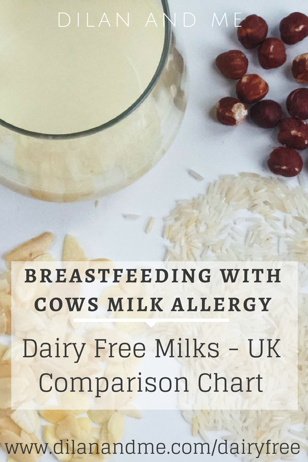 Breastfeeding with CMPA - A dairy free milk comparison chart, comparing all the alternative milks available in the UK. Includes all vegan milks/plant based milks readily available in UK supermarkets. Choose which dairy free milk is the best choice for you based on calcium content, calories, protein content and fat. Which milk substitute is the best for you? Read more at dilanandme.com