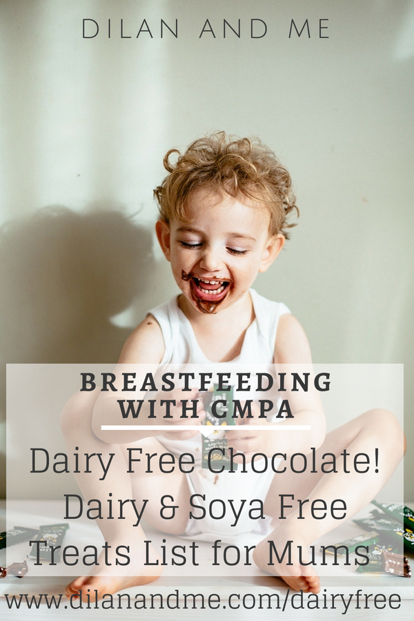 A HUGE dairy free and soya free treats list for mums breastfeeding with CMPA. If you've gone dairy free to breastfeed your baby who has a dairy allergy then check here for dairy free chocolate and dairy free cake. Don't miss out on all the vegan doughnuts. Loads more breastfeeding with CMPA resources at dilanandme.com