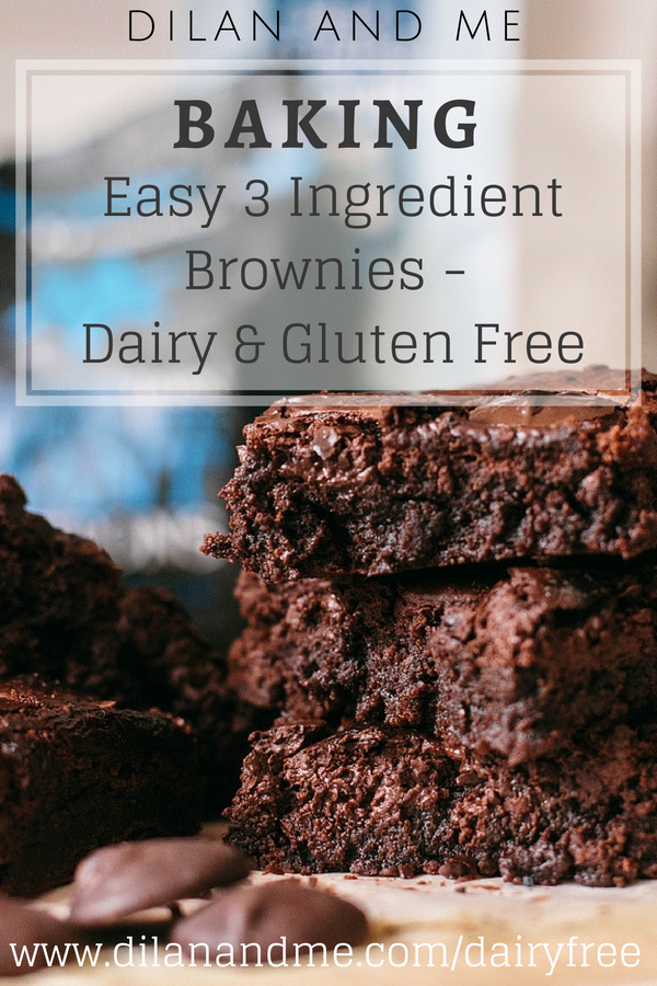 Super easy 3 ingredient brownies. Perfectly gooey, chewy and delicious brownies, using a dairy free and gluten free recipe. For more dairy free treats check out dilanandme.com/dairyfree