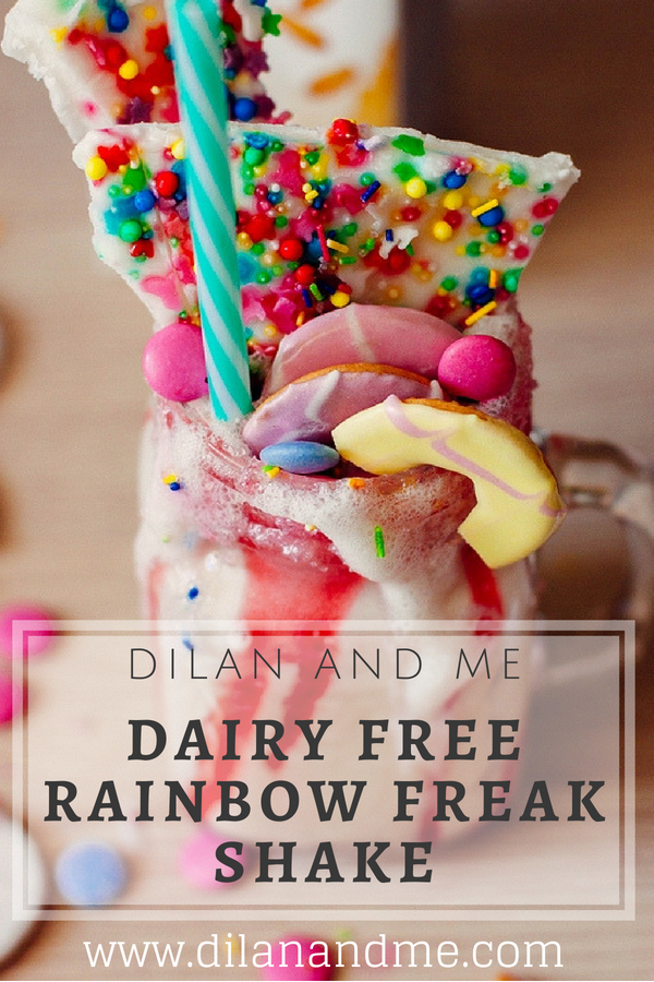 Dairy Free Rainbow Freak Shake - Find out how to make this amazing rainbow unicorn freak shake, no one will ever guess it's a dairy free treat. Made with delicious dairy free salted caramel gelato from Valsoia and Ciao Gusto. Find more dairy free recipes at dilanandme.com/dairyfree