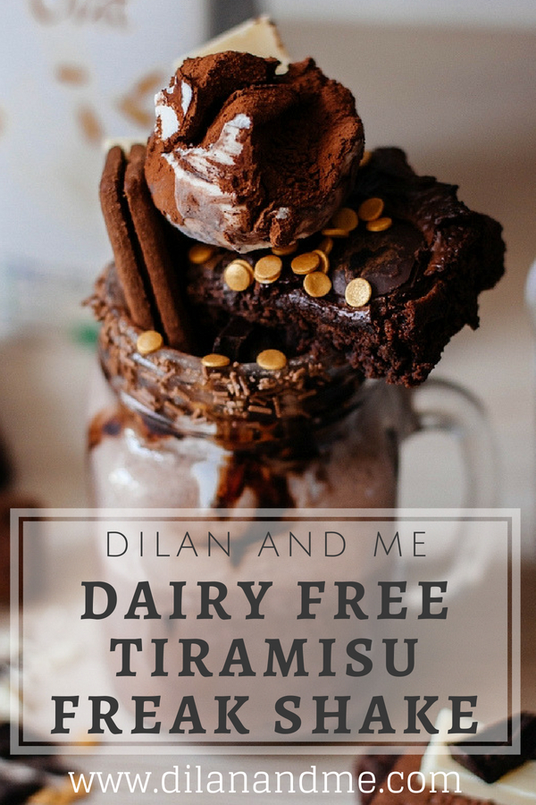 Dairy Free Tiramisu Freak Shake - Find out how to make this amazing tiramisu adult freak shake which includes Baileys Almande (vegan Baileys). Delicious, perfect for summer and totally dairy free! Made with delicious dairy free tiramisu gelato from Valsoia and Ciao Gusto. Find more dairy free treats at dilanandme.com/dairyfree
