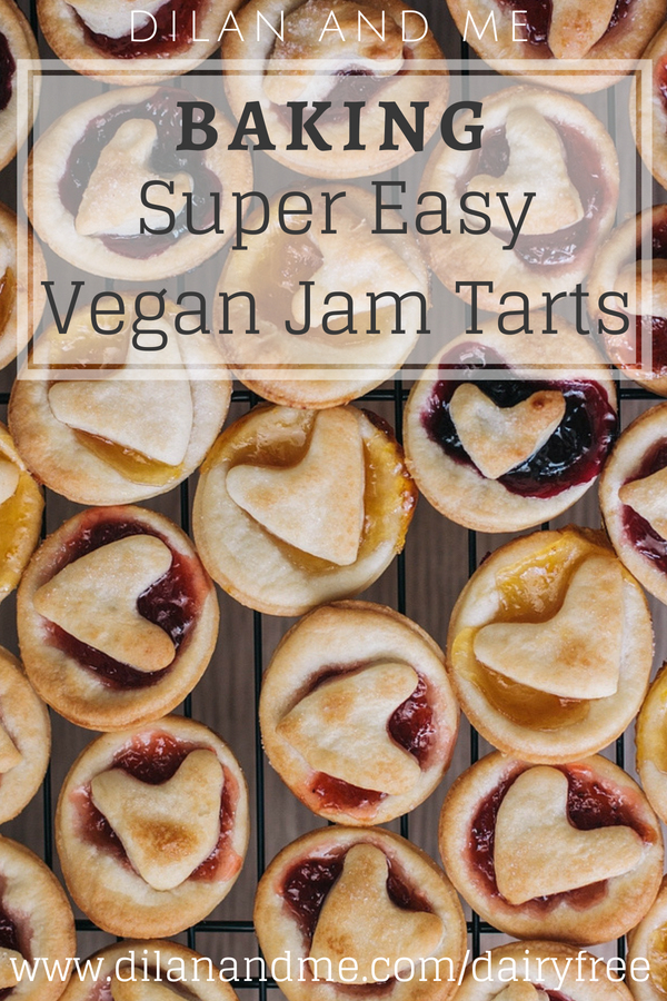 Really easy jam tarts - plus they are vegan! Vegan baking made simple, perfect for baking with kids and great for kids with food allergies. Find more simple baking recipes and dairy free treats at dilanandme.com/dairyfree